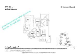 Florence Residences Floor Plan 3 bedroom Type 3C1