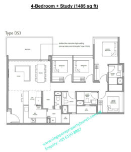 Fourth Avenue Residences floor plan 4 bedroom + study