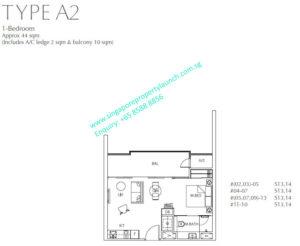 Fulcrum Condo 1 bedroom Type A2
