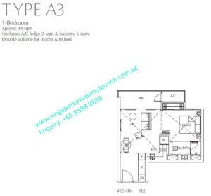 Fulcrum Condo 1 bedroom Type A3