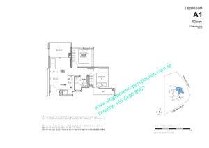 Fyve Derbyshire floor plan 2 bedroom Type A1