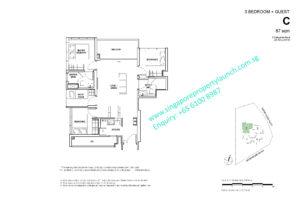 Fyve Derbyshire floor plan 3 bedroom + Guest Type C
