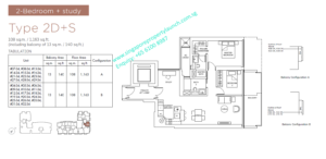 Marina One Residences 2 bedroom + Study Type 2D+S