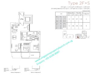 Marina One Residences 2 bedroom + Study Type 2F+S