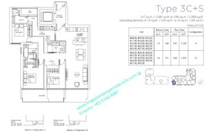 Marina One Residences 3 bedroom + Study Type 3C+S