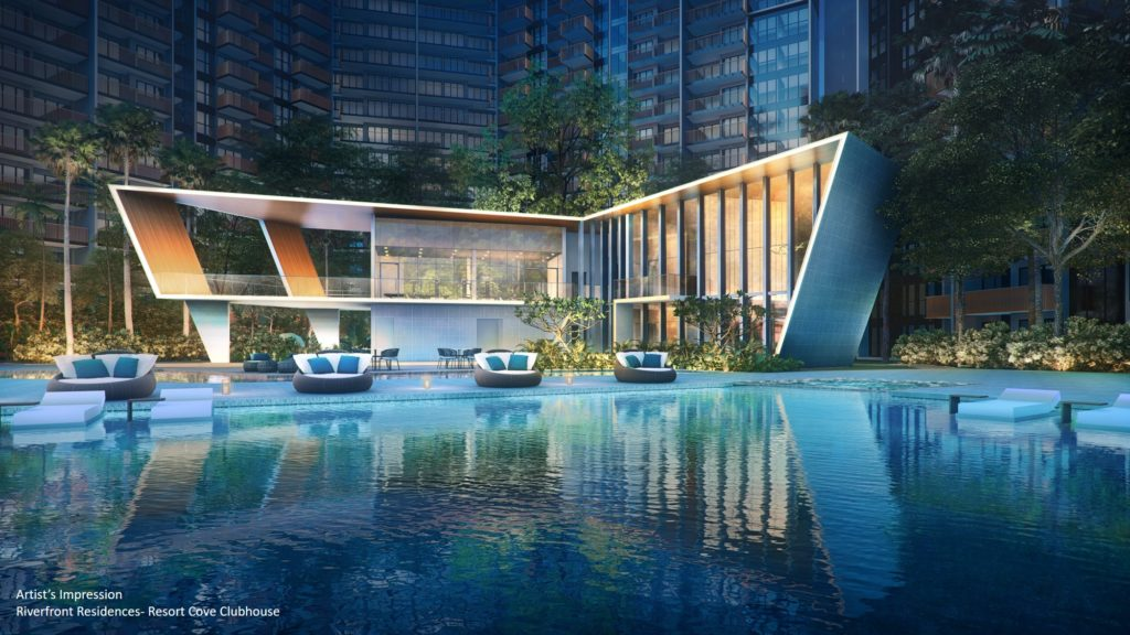Riverfront Residences pool and clubhouse