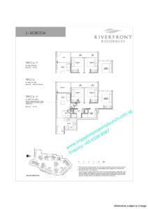 Riverfront residences floor plan 3 bedrooms Type C1a