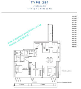 South beach residences 2 bedroom Type 2B1 - 1593 sq ft