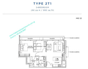 South beach residences 2 bedroom Type 2T1 - 990 sq ft