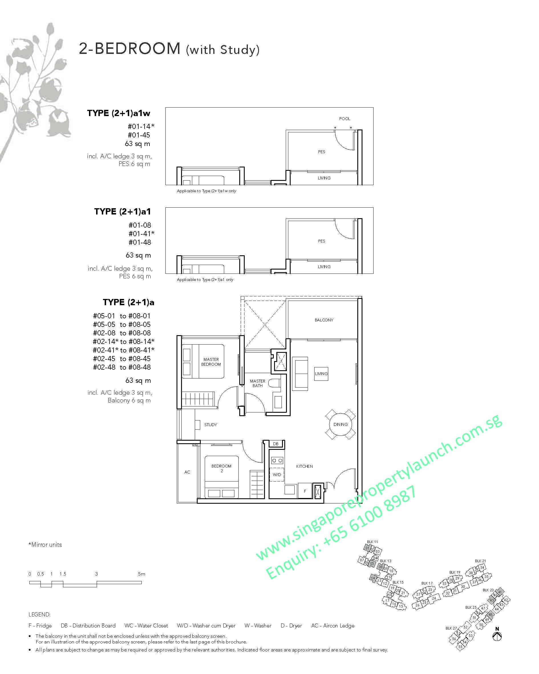 The Jovell Floor Plan 2 Bedroom Study Type 2 1a 6100 8987 Visit Showflat For Developer Price