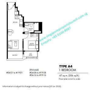 The Tre Ver floor plan 1 bedroom