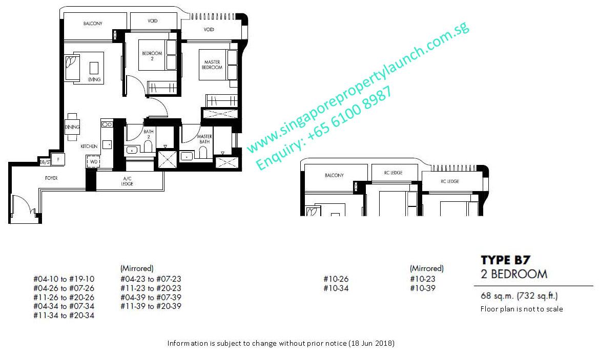 The Tre Ver floor plan 2 bedroom – 6100