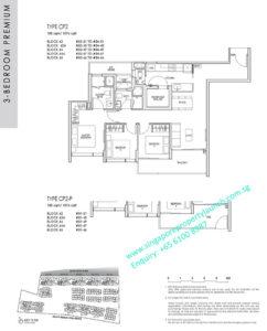 kent ridge hill residences floor plan - 3 bedroom premium type CP2